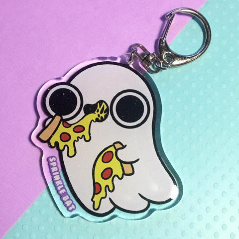 Ghost Pizza Keychain