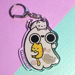 Ghost Loves Kitties Keychain