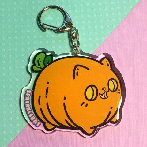 Pumpkin Kitty Keychain