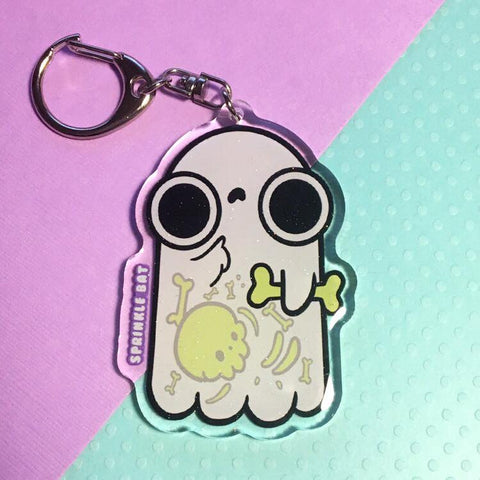 Ghost with Bones Keychain