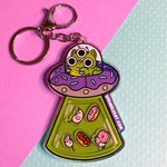 Donut Space Cat Shaker Keychain