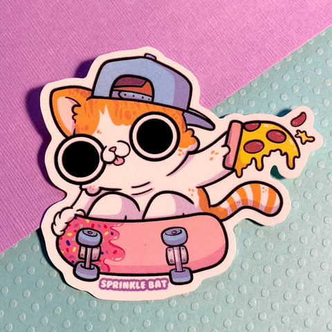 Pizza Sk8 Cat Sticker