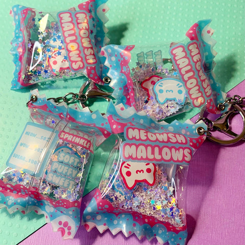 Meowshmallos Candy Bag Keychain