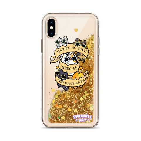 To Many Cats Liquid Glitter Phone Case