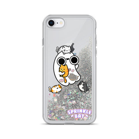 Ghost Loves Kitties Liquid Glitter Phone Case