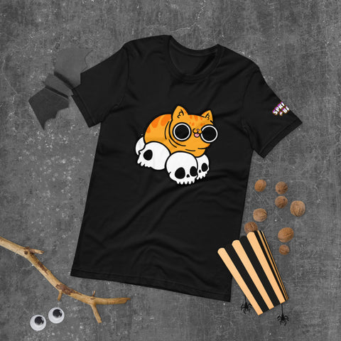 Cat Skull Orange Boi Short-Sleeve Unisex T-Shirt