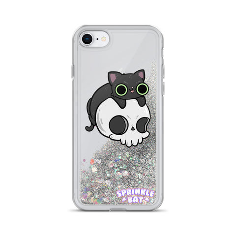 Skull Kitty Liquid Glitter Phone Case