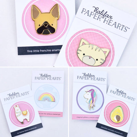Paper Hearts Enamel Pin Windsor Ontario Gifts