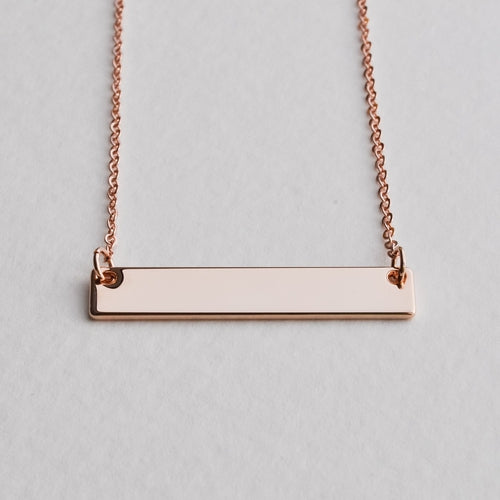 Rose Gold Bar Necklace - Aloraflora Jewelry