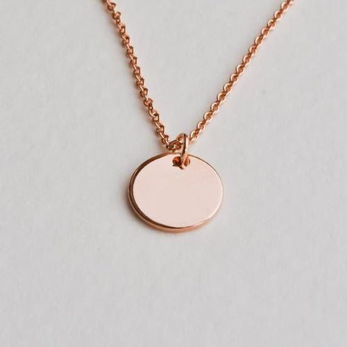 Rose Gold Disc Necklace - Aloraflora Jewelry