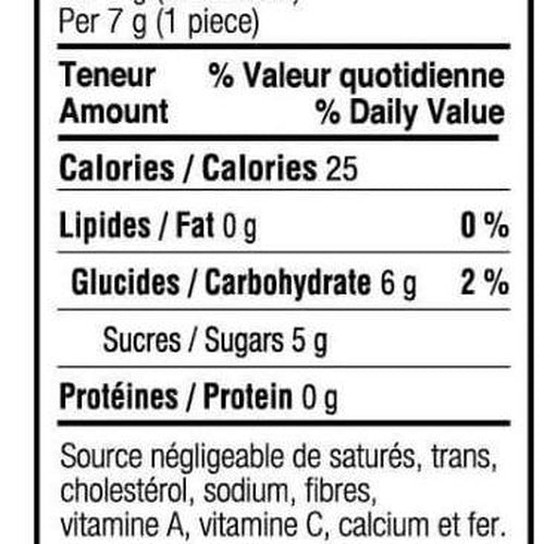 nutrition facts - soft maple sugar candies - turkey hill sugar bush