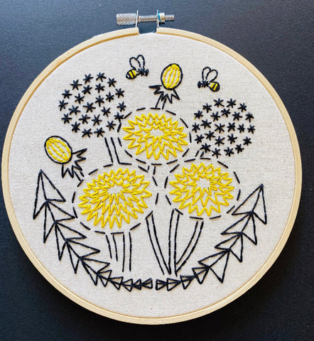 Bee Kind Dandelion Embroidery Kit