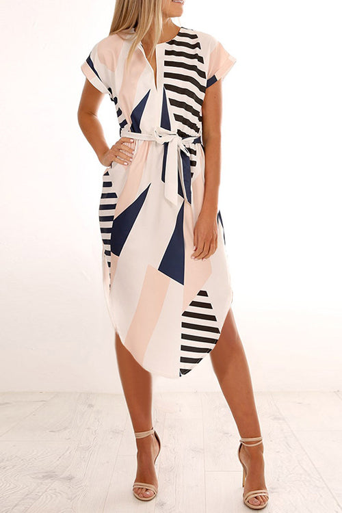 Popgirlmart Trendy Printed Mid Calf Dress