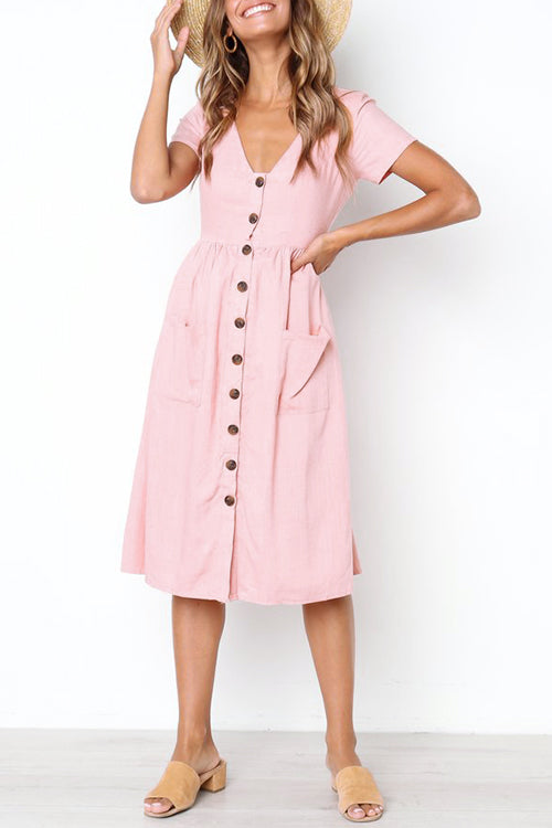 Popgirlmart Casual V Neck Buttons Mid Calf Dress