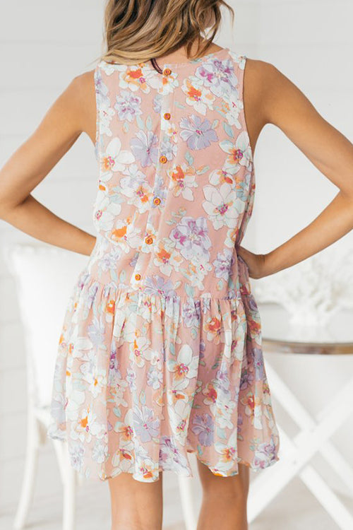 Popgirlmart Sweet Mixed Printing O Neck Mini A Line Dresses
