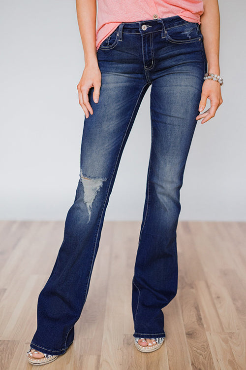 Popgirlmart Casual Broken Holes Denim Jeans