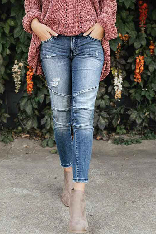 Popgirlmart Casual Patchwork Blue Jeans