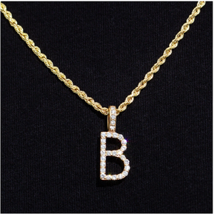 Solid Gold Diamond Letter Pendant - Flooded Jewelers