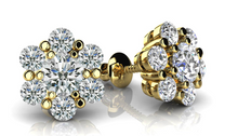 Load image into Gallery viewer, Diamond Cluster Stud Earrings