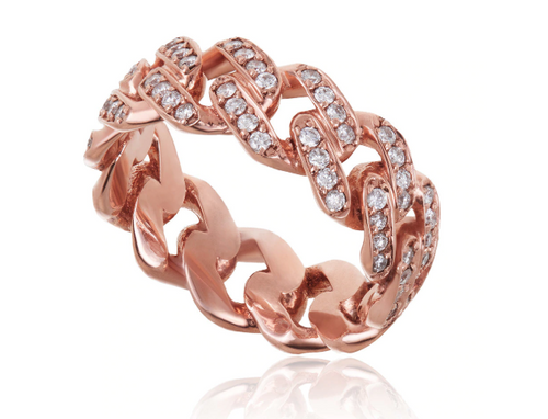 Rose Gold Diamond Cuban Ring - Flooded Jewelers