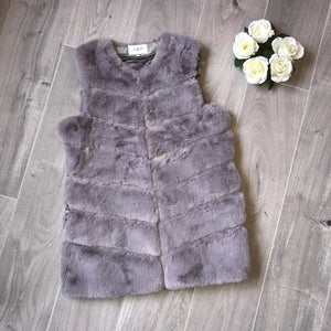 Laurie longline faux fur gilet - grey