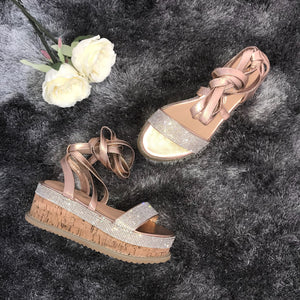 Kira crystal espadrilles - rose gold