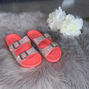 Raya crystal double strap buckle sandals - coral