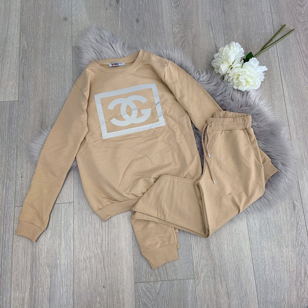 Shanel jogger loungeset - nude
