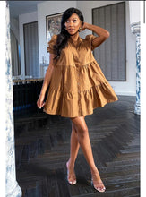 Load image into Gallery viewer, Stassie smock dress - tan