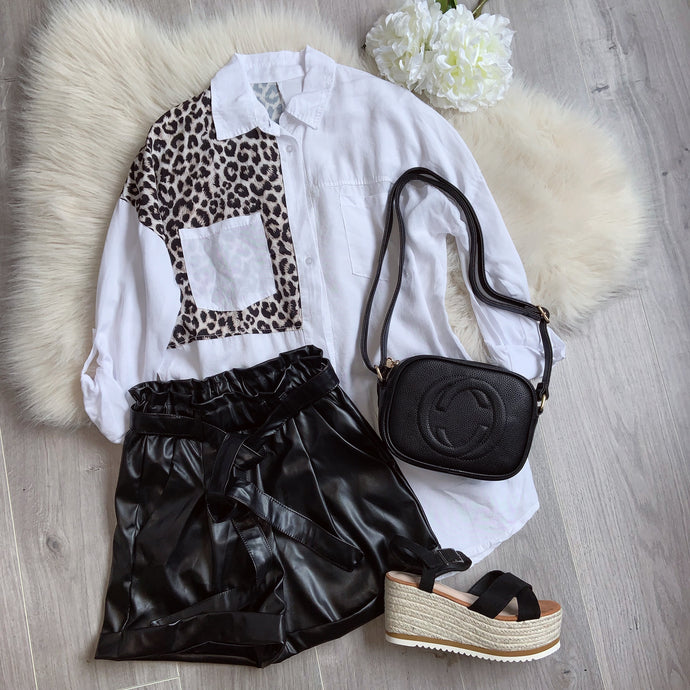 Leather look PU belted shorts