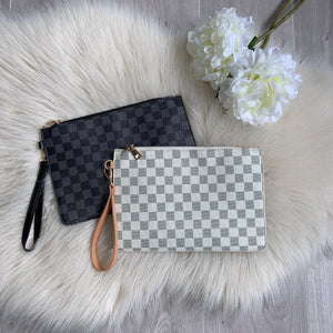 Checker clutch bag - cream