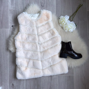 Laurie longline faux fur gilet - cream
