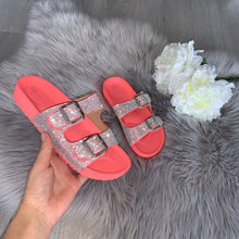 Load image into Gallery viewer, Raya crystal double strap buckle sandals - coral