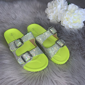 Raya crystal double strap buckle sandals - lime