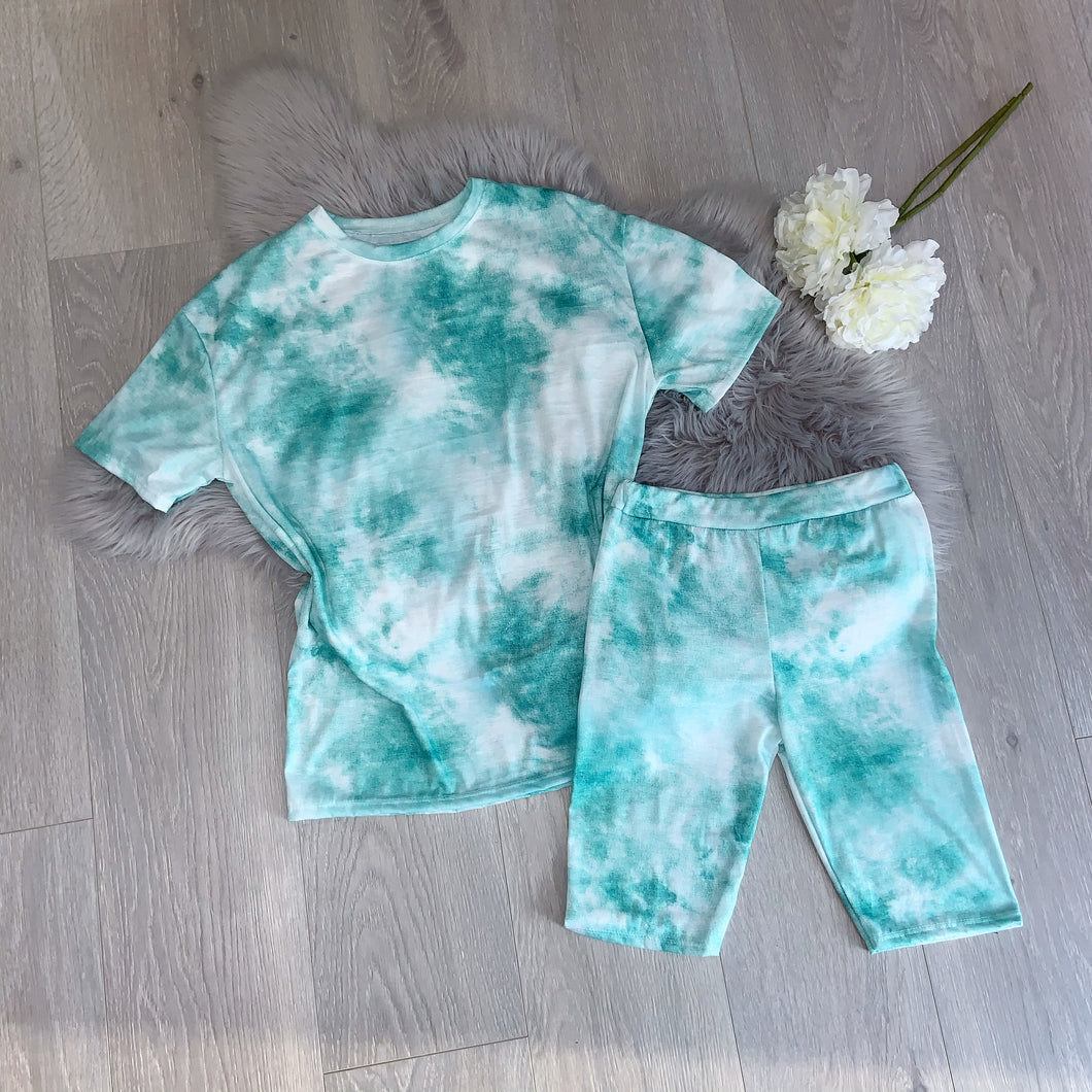 Izzy tie dye tee and cycling short set - green