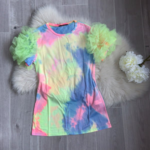 Luna pom sleeve tee dress - neon green