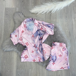 Lula silky printed pyjamas short set - pink