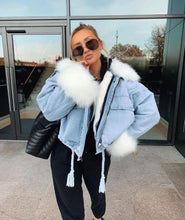 Load image into Gallery viewer, Koko oversized denim faux fur trim jacket - blue/white