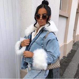 Koko oversized denim faux fur trim jacket - blue/white