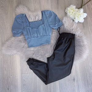 Yanis denim crop top