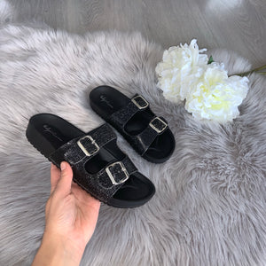 Raya crystal double strap buckle sandals - black