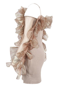 Delilah frill dress - nude
