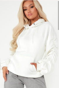 Nora rouched sleeve hoodie - cream