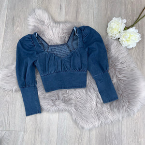 Dora denim crop top
