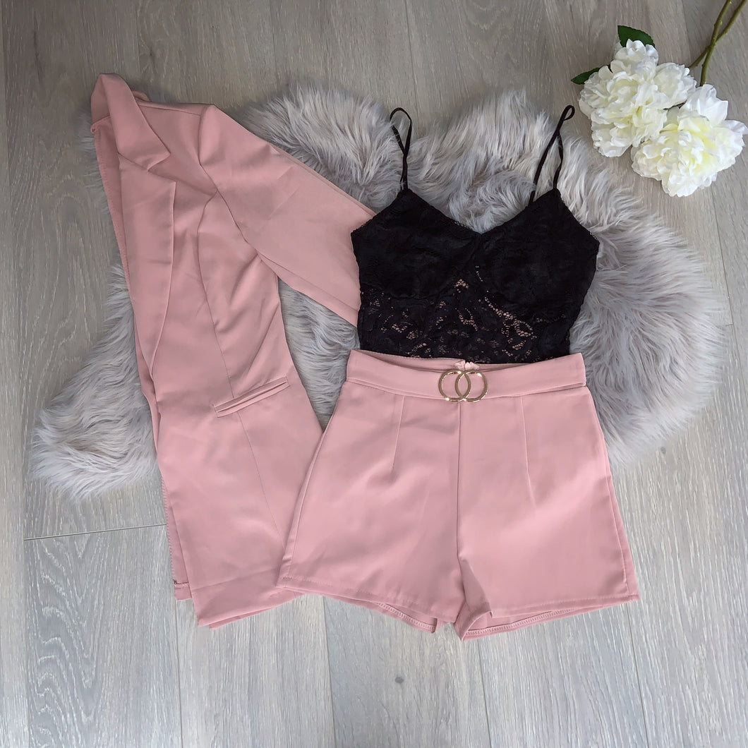 Isla blazer and shorts set - pink