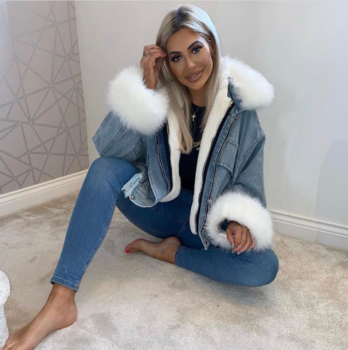 Koko oversized denim faux fur trim jacket