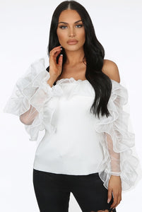 Delilah frill top - white