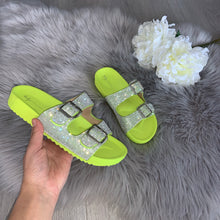 Load image into Gallery viewer, Raya crystal double strap buckle sandals - lime