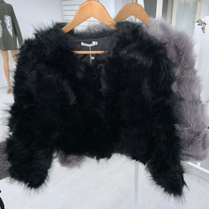 Audrina cropped faux fur jacket - black