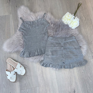 Lorna frill short set - grey